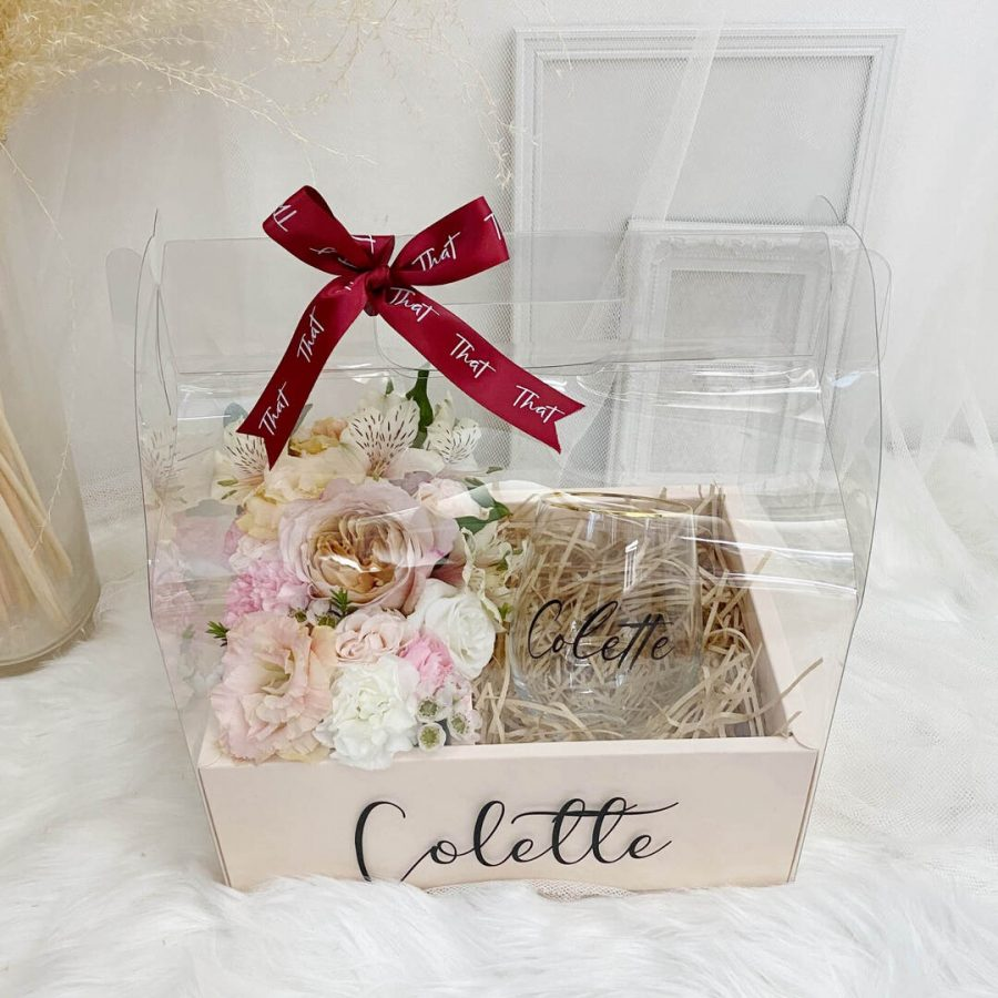 Floral Gift Box With Gold Rim Glass Mug - 1