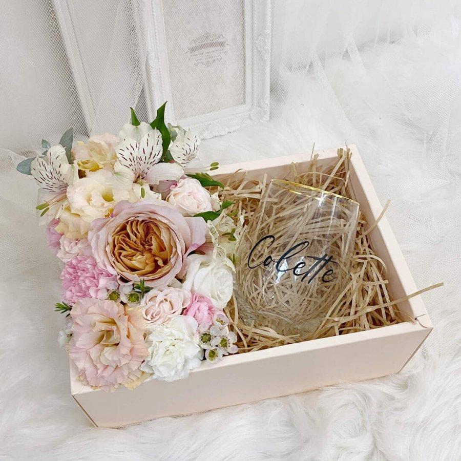 Floral Gift Box With Gold Rim Glass Mug - 3