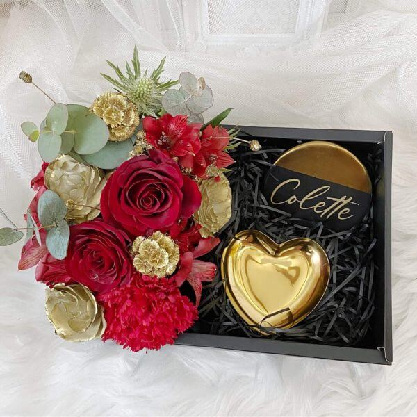 Floral Gift Box With Coaster & Heart Tray
