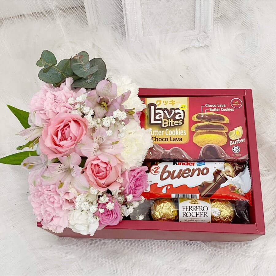 Floral Gift Box With Snacks - Close up
