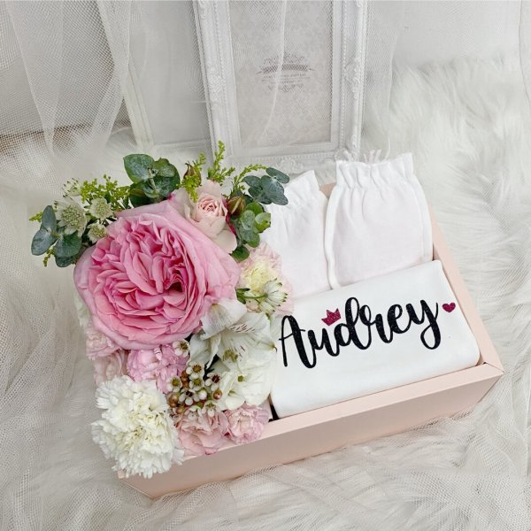 Floral Gift Box With Personalised Romper (Girl)