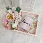 Floral Gift Box With Pink Marble Cup